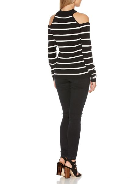 Quiz Black Knit Stripe Turtle Neck Top