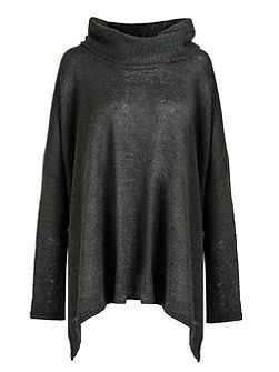 Charcoal Roll Neck Knitted Oversized Jumper