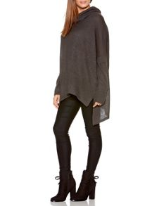 Quiz Charcoal Roll Neck Knitted Oversized Jumper