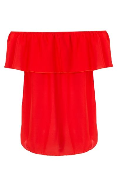 Quiz Red Bardot Dip Hem Top