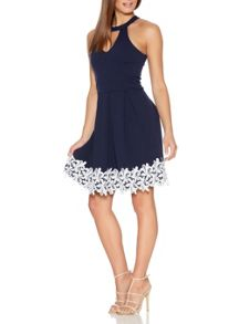 Quiz QUIZ Navy Lace Trim Pleated Dress