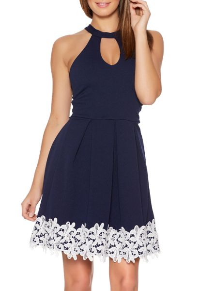 Quiz Navy Lace Trim Pleated Dress