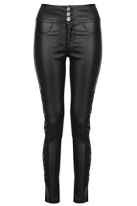 Quiz Black PU Lace Side Skinny Trousers