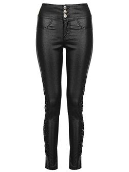 Black PU Lace Side Skinny Trousers