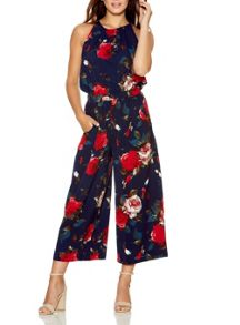 Quiz Navy Crepe Flower Culotte Jumpsuit