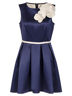 Navy And Cream Flower Dip Hem Dress