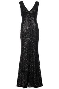 Quiz QUIZ Black Scallop Sequin Maxi Dress