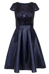 Quiz Navy Sequin Cap Sleeve Satin Dress