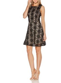 Quiz Black Crochet Pearl Skater Dress