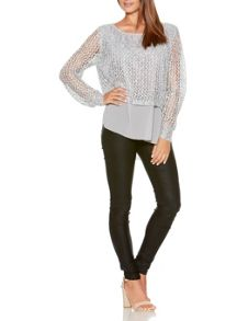 Quiz Grey Knit Sequin Jumper