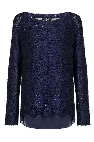 Quiz Navy Sequin Knit Jumper