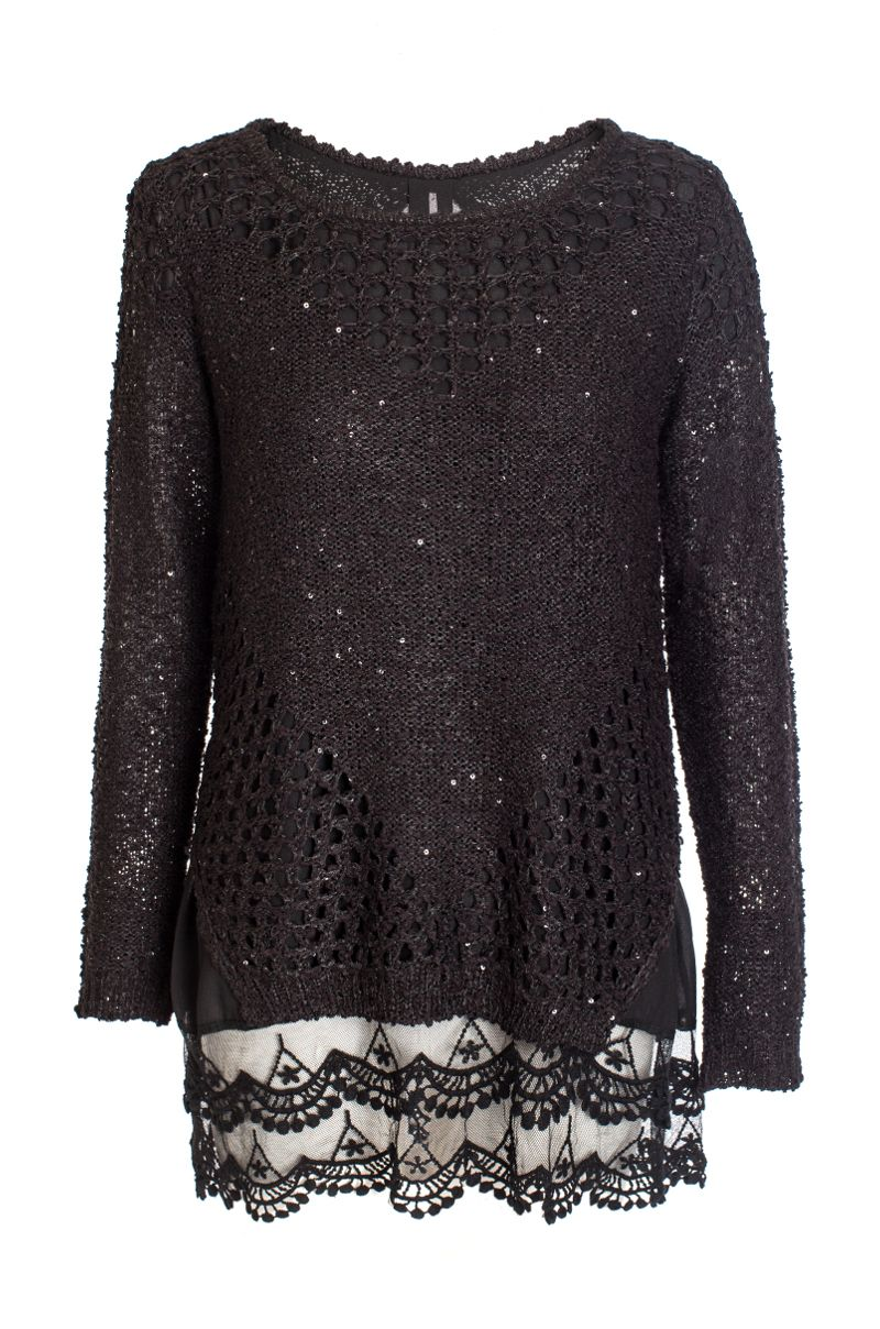 Knitting Quiz Uk : Knitted lace sweater house of fraser