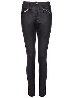 Black PU Gold Zip Skinny Trousers