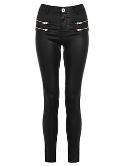 Black PU Zip Skinny Trousers