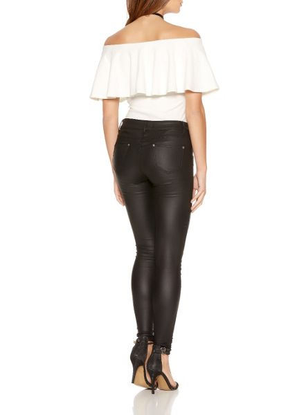Quiz Black PU Zip Skinny Trousers