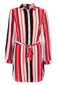 Quiz Red Crepe Stripe Shirt Dress