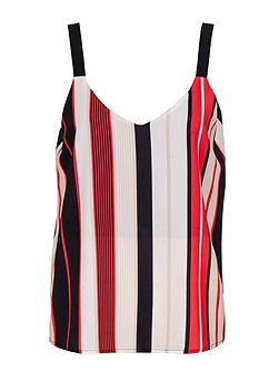 Red And Black Crepe Stripe Cami Top