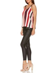Quiz Red And Black Crepe Stripe Cami Top