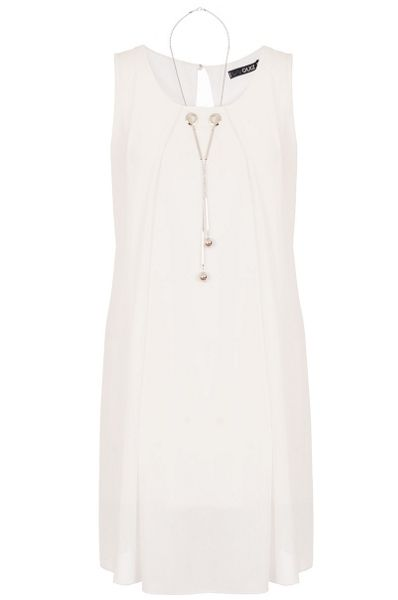 Quiz Cream Necklace Tunic Dress