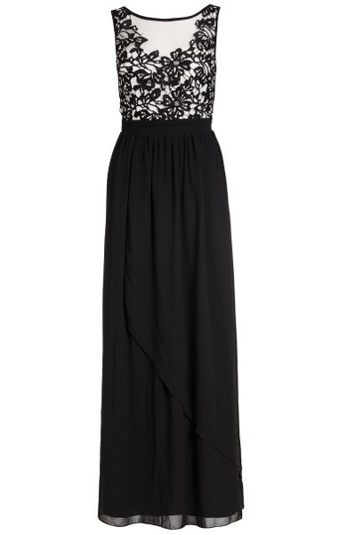 Quiz Black Crochet Flower Maxi Dress