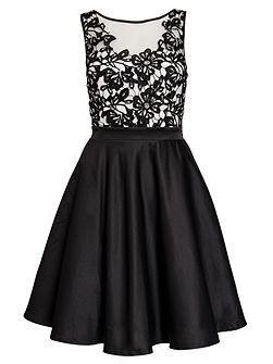 Black Satin Flower Short Dress