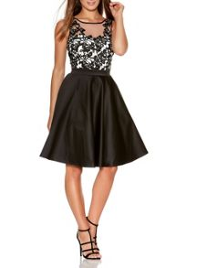 Quiz Black Satin Flower Short Dress