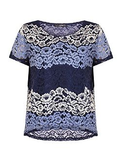 Navy And Silver Lace Stripe Top