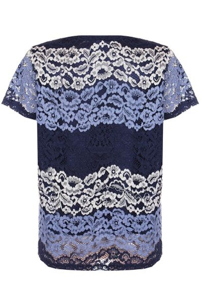 Quiz Navy And Silver Lace Stripe Top