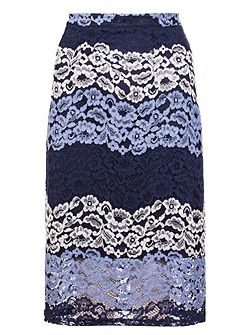 Navy And Silver Lace Midi Skirt
