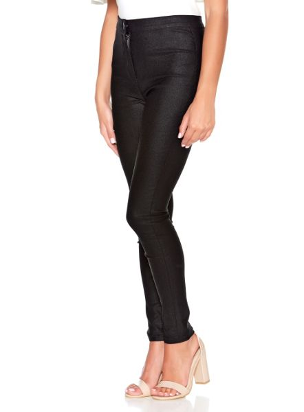 Quiz Black Shiny Skinny Trousers