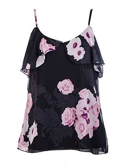 Black And Pink Chiffon Swing Top