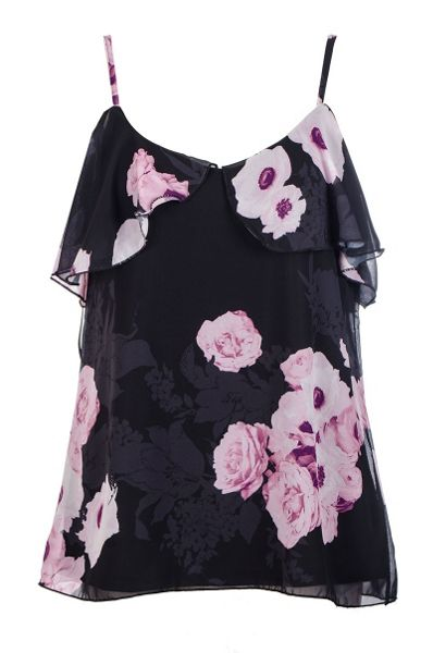 Quiz Black And Pink Chiffon Swing Top