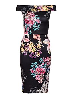 Black Flower Bardot Midi Dress