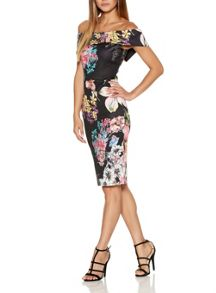 Quiz Black Flower Bardot Midi Dress