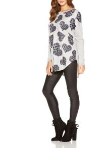Quiz Grey Leopard Print Heart Jumper