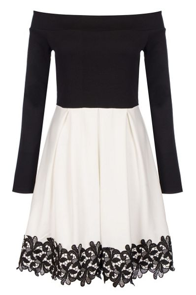Quiz Black Crochet Trim Skater Dress