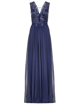 Navy Sequin Scallop Neck Maxi Dress