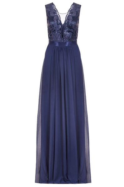Quiz Navy Sequin Scallop Neck Maxi Dress