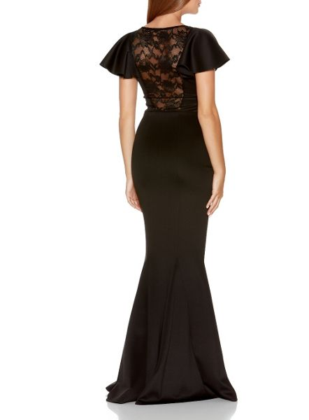 Quiz Black Lace Insert Maxi Dress