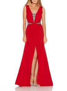 Quiz Red Embellished Split Maxi Dress