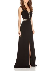 Quiz Black Embellished Split Maxi Dress