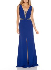 Quiz Blue Embellished Split Maxi Dress