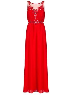 Red Chiffon Embroidered Maxi Dress