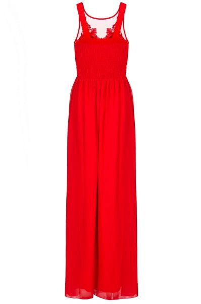 Quiz Red Chiffon Embroidered Maxi Dress