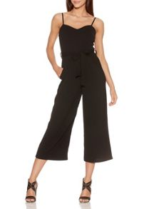 Quiz Black Crepe Belt Culotte Jumpsuit