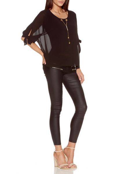 Quiz Black 3/4 Sleeve Necklace Top