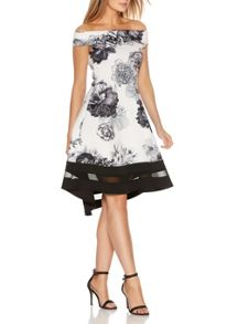 Quiz Cream Floral Print Bardot Dress