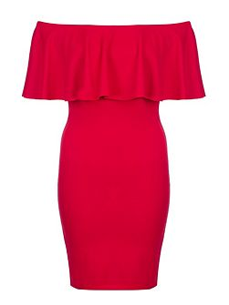 Red Crepe Big Frill Bardot Dress