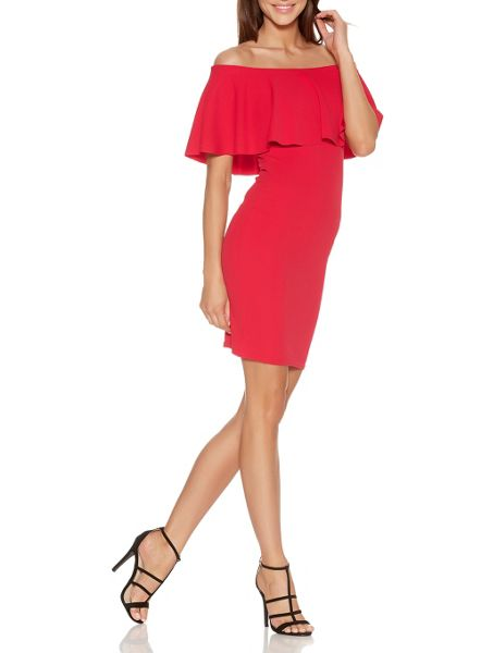 Quiz Red Crepe Big Frill Bardot Dress
