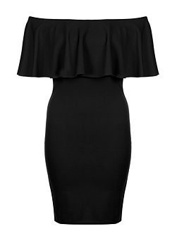 Black Crepe Big Frill Bardot Dress